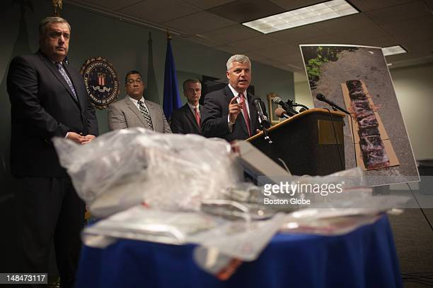 Suffolk County District Attorney Daniel F. Conley announces the takedown of a multimillion dollar drug trafficking ring operating in Boston during a...