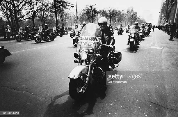 Suffolk County Police Motorcycle Unit take part in the 'Home With Honor' parade to mark the homecoming of American troops from Vietnam New York City...