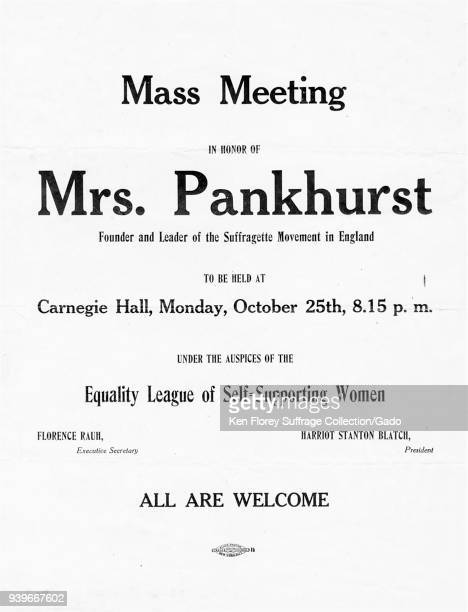 Suffrage meeting poster, advertising the appearance of Emmeline Pankhurst, the militant founder of the English Women's Social and Political Union, at...