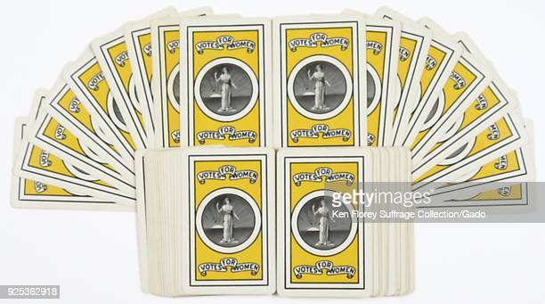 Suffrage memorabilia deck of playing cards with a crest depicting a version of lady justice used as a symbol of the International Woman Suffrage...