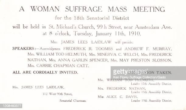 Suffrage postcard advertising a Woman Suffrage Mass Meeting featuring speakers Carrie Chapman Catt and Mrs James Laidlaw at Saint Michael's Church...
