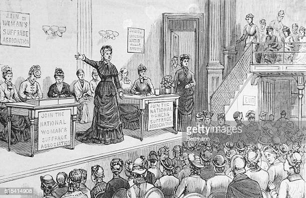 Session of the National Woman's Suffrage Association during political convention in Chicago 1880 This militant group was an outgrowth of the American...