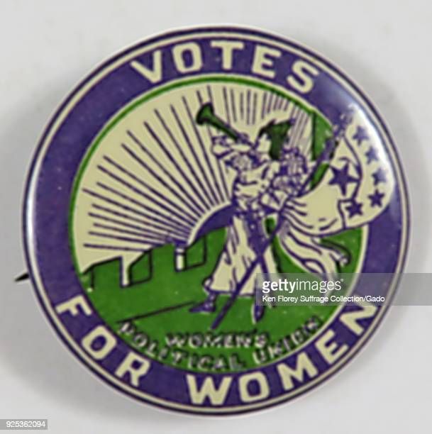 Suffrageera 'Clarion' button with stars with the text 'Votes For Women ' and featuring Caroline Watt's 'Bugler Girl' or 'Clarion Girl' design with...
