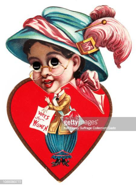 Suffrageera diecut 'vinegar valentine' card with a moveable head and plastic eyes caricaturing a spectacled female suffragist wearing an oversized...
