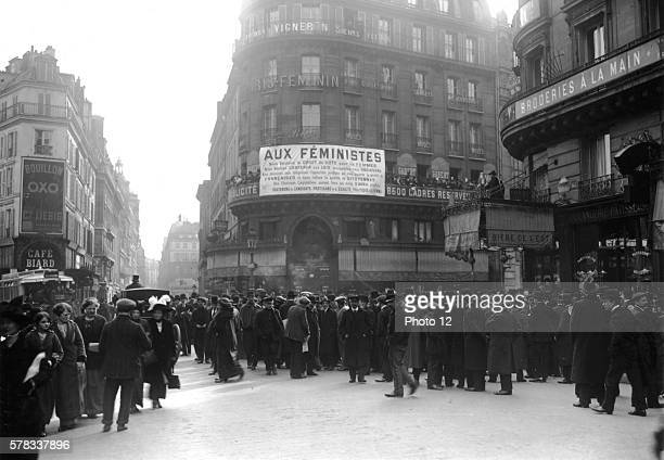 Suffragette meeting rue Montmartre in Paris before the legislative elections March 29 1914 Paris Bibliotheque Nationale de France