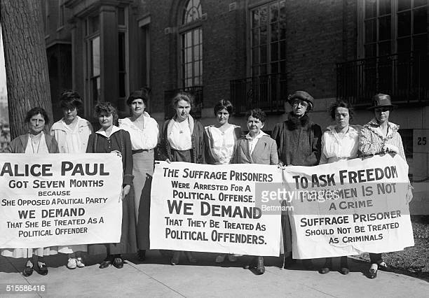Suffragette pickets released from jail demand new hearing for their imprisoned leader Left to right Mrs WJ Bartlett Putnam Connecticut Miss Lucy...