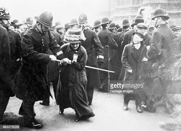 A suffragette struggling with a policeman on 'Black Friday' Westminster London 18th November 1910 The Conciliation Bill was shelved by the Prime...
