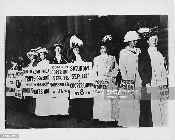 Suffragettes advertising women's rights at The Cooper Union, a tuition-free school which prided itself on a lack of discrimination, New York City,...