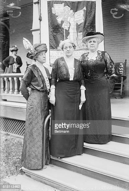 Suffragettes at the convention Mrs Raymond Brown Mrs Carrie Chapman Catt and Mary Garrett Hay