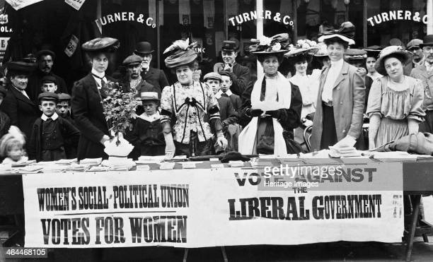 Suffragettes campaigning during a byelection c1910 The Liberal government of Herbert Asquith refused to give the vote to women Here suffragettes from...