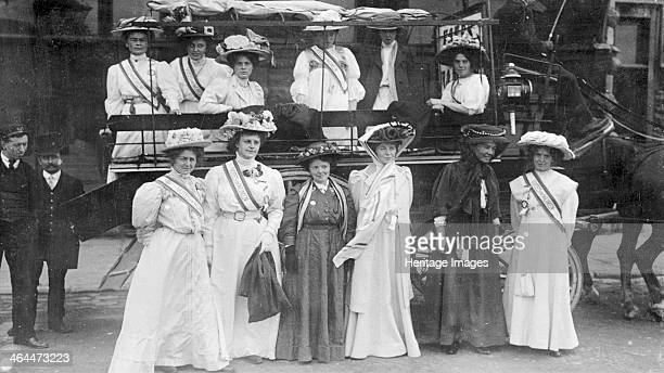 Suffragettes in 'Votes for Women' sashes, c1910. Campaigners in the struggle to get the vote for women.