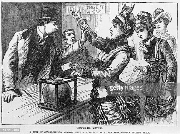 Wouldbe voters A bevy of strongminded amazons create a sensation at a New York polling place by attempting to vote Woodcut ca 1875