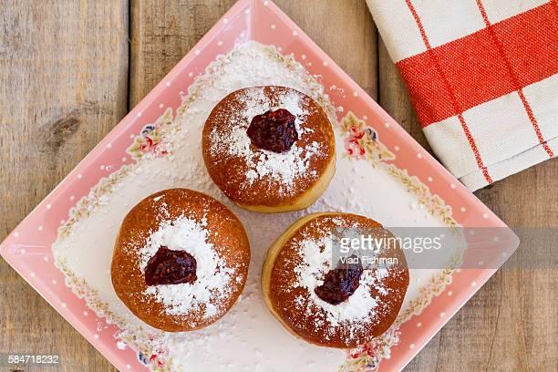 Sufganiot, Doughnuts. A traditional jewish Hanukah dessert