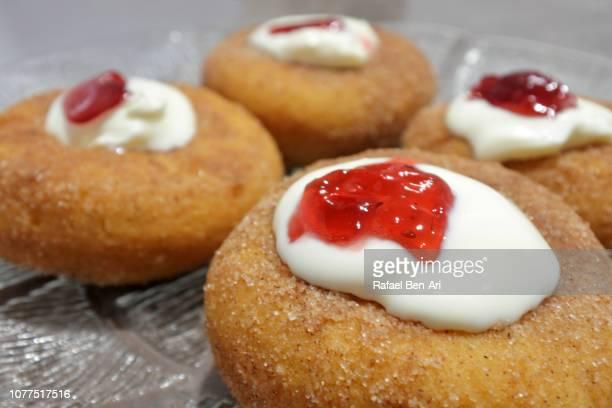 Sufganiyah Jelly Doughnut Eaten in Jewish Festival of Hanukkah