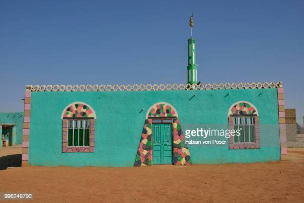 Sufi Gadria Mokakshfia Mosque, typical colourful Nubian, pattern, Al Dabbah, Northern State, Nubia, Sudan