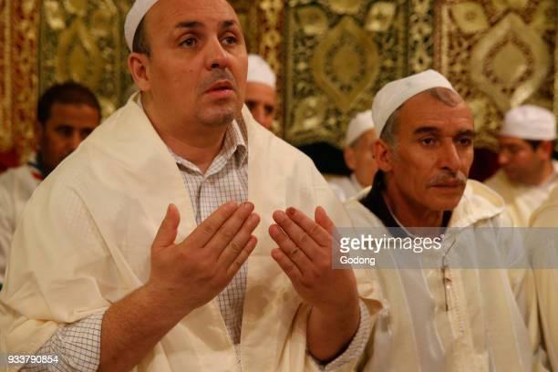 Sufi muslims celebrating Laylat al Qadr during Ramadan at the Paris great mosque France
