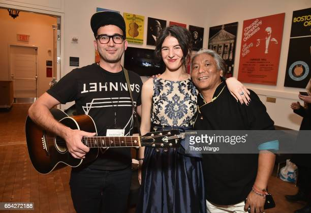 Sufjan Stevens Jesse Paris Smith and Tenzin Choegyal pose backstage during the Tibet House US 30th Anniversary Benefit Concert Gala to celebrate...