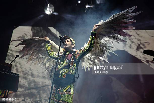 Sufjan Stevens performs live on day one of Boston Calling festival at Boston City Hall Plaza on May 27 2016 in Boston Massachusetts
