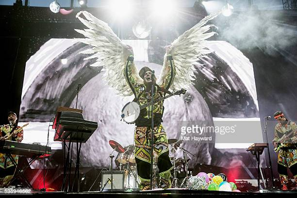 Sufjan Stevens spreads his wings while performing on stage during the Sasquatch Music Festival at Gorge Amphitheatre on May 30 2016 in George...