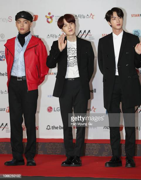 V Suga and Jin of boy band BTS attend the 2018 Asia Artist Awards on November 28 2018 in Incheon South Korea