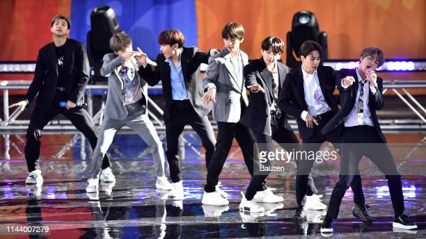 RM Suga JHope V Jungkook Jimin and Jin of BTS perform on Good Morning America on May 15 2019 in New York City