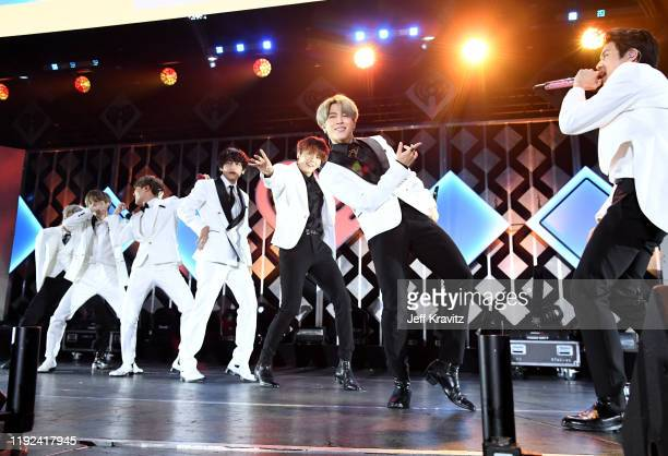 Suga, J-Hope, V, Jungkook, Jimin, and Jin of BTS perform onstage during 102.7 KIIS FM's Jingle Ball 2019 Presented by Capital One at the Forum on...