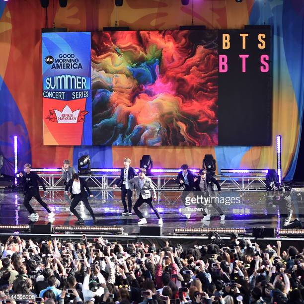 RM Suga Jimin Jin V JHope and Jungkook of BTS perform on Good Morning America on May 15 2019 in New York City