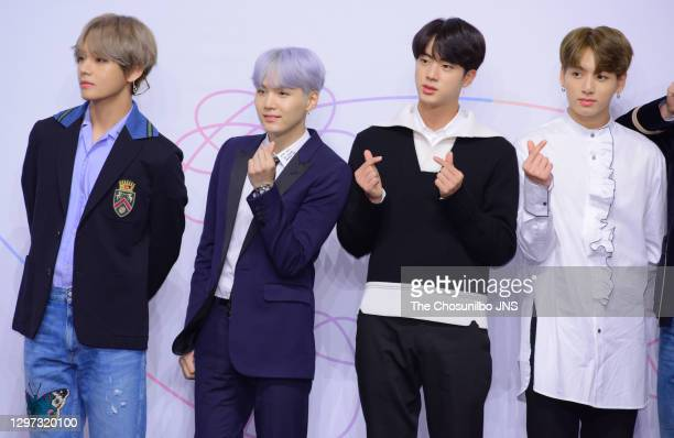 Suga, Jin and Jungkook of BTS attend the press conference for BTS's New Album 'LOVE YOURSELF: Her' release at Lotte Hotel Seoul on September 18, 2017...