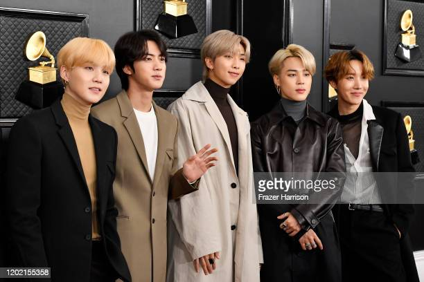 Suga Jin Jimin Jungkook and JHope of music group BTS attend the 62nd Annual GRAMMY Awards at STAPLES Center on January 26 2020 in Los Angeles...