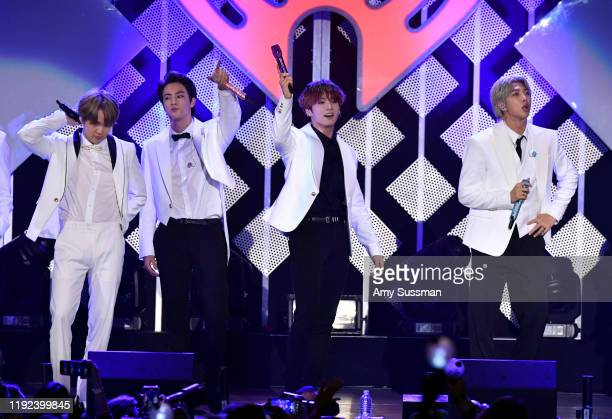 Suga Jin Jungkook and RM of BTS perform onstage during KIIS FM's Jingle Ball 2019 presented by Capital One at The Forum on December 06 2019 in...