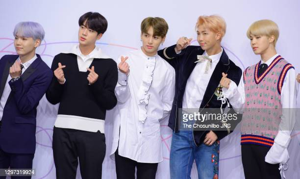 Suga, Jin, Jungkook, RM and Jimin of BTS attend the press conference for BTS's New Album 'LOVE YOURSELF: Her' release at Lotte Hotel Seoul on...