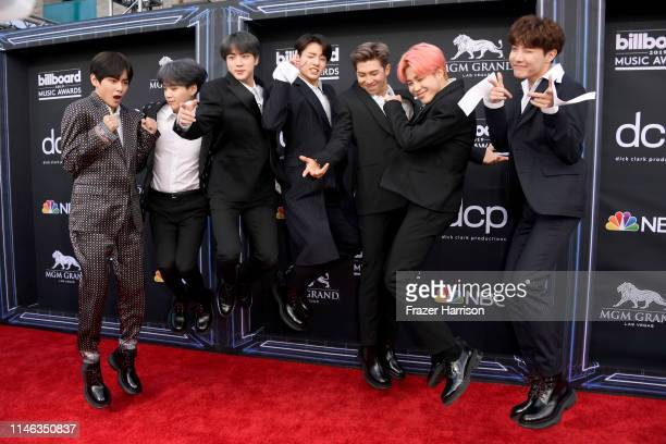 V Suga Jin Jungkook RM Jimin and JHope of BTS attend the 2019 Billboard Music Awards at MGM Grand Garden Arena on May 01 2019 in Las Vegas Nevada
