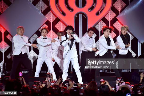 Suga, Jin, Jungkook, RM, Jimin, and J-Hope of BTS perform at KIIS FM's Jingle Ball 2019 presented by Capital One at The Forum on December 06, 2019 in...