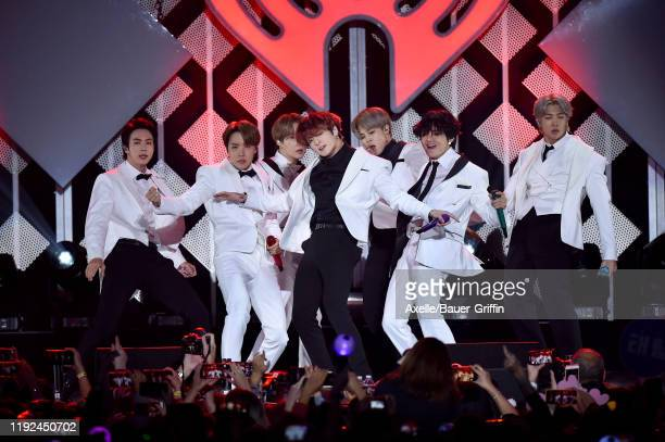 V Suga Jin Jungkook RM Jimin and JHope of BTS perform at KIIS FM's Jingle Ball 2019 presented by Capital One at The Forum on December 06 2019 in...