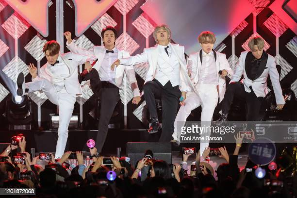V Suga Jin Jungkook RM Jimin and JHope of BTS performs during the iHeartRadio KIIS FM's Jingle Ball show at the Forum on December 06 2019 in...