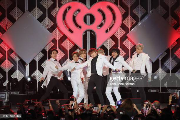 Suga, Jin, Jungkook, RM, Jimin, and J-Hope of BTS performs during the iHeartRadio KIIS FM's Jingle Ball show at the Forum on December 06, 2019 in...