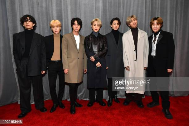 V Suga Jin Jungkook RM Jimin JHope of BTS attend the 62nd Annual GRAMMY Awards at STAPLES Center on January 26 2020 in Los Angeles California