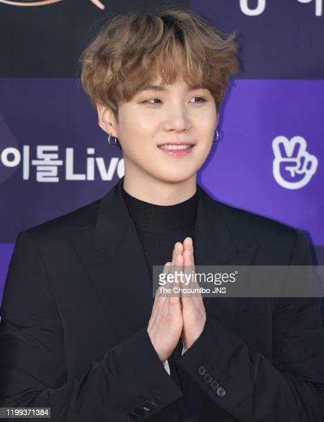 Suga of Bangtan Boys arrives at the photocall for the 34th Golden Disc Awards on January 05 2020 in Seoul South Korea