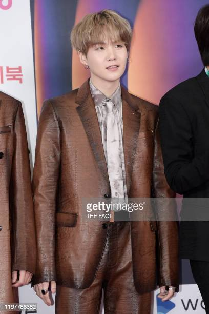 Suga of Bangtan Boys attends 2019 SBS Gayo Daejeon Photocall at Gocheok Sky Dome on December 25 2019 in Seoul South Korea