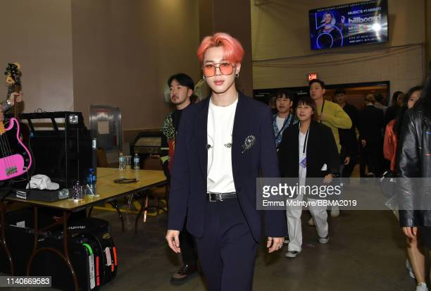 Suga of BTS is seen backstage during the 2019 Billboard Music Awards at MGM Grand Garden Arena on May 1 2019 in Las Vegas Nevada