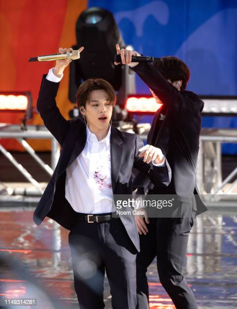 """Suga of BTS performs on """"Good Morning America"""" on May 15, 2019 in New York City."""