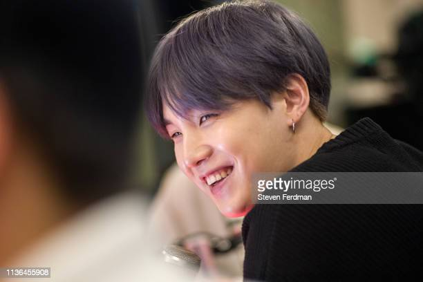 Suga of BTS visit The Elvis Duran Z100 Morning Show at Z100 Studio on April 12 2019 in New York City