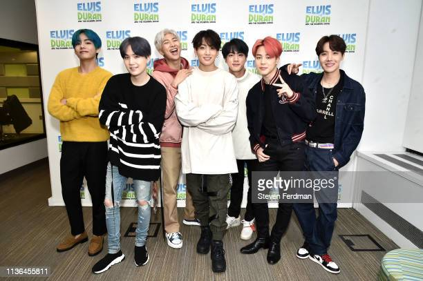 V Suga RM Jungkook Jin Jimin JHope of BTS visit The Elvis Duran Z100 Morning Show at Z100 Studio on April 12 2019 in New York City
