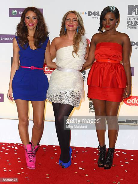 Sugababes Amelle Berrabah Heidi Range and Keisha Buchanan attends the 2008 MTV Europe Music Awards at the Liverpool Echo Arena on November 6 2008 in...