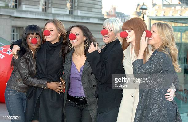 Sugababes and Girls Aloud during 'Comic Relief 2007' Press Launch January 31 2007 at BA London Eye in London Great Britain