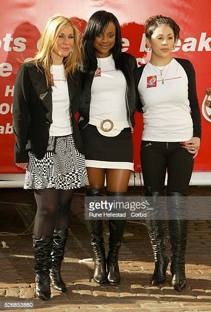 Sugababes doing a Kit Kat promotion in Covent Garden