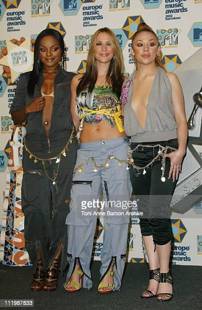 Sugababes during 2002 MTV European Music Awards Press Room at Palau Sant Jordi in Barcelona Spain