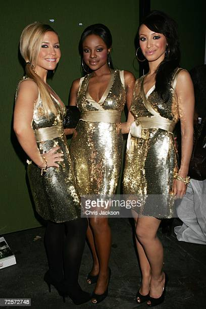 Sugababes Heidi Range Keisha Buchanan and Amelie Berrabah pose for a picture backstage during the 2006 World Music Awards at Earls Court on November...