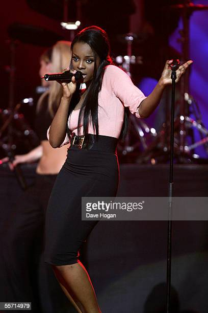 Sugababes member Keisha Buchanan performs on stage at the second annual 'ASDA's Tickled Pink' charity concert raising funds for Breast Cancer Care at...