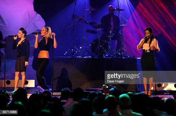 Sugababes Mutya Buena Heidi Range and Keisha Buchanan perform on stage at the second annual 'ASDA's Tickled Pink' charity concert raising funds for...
